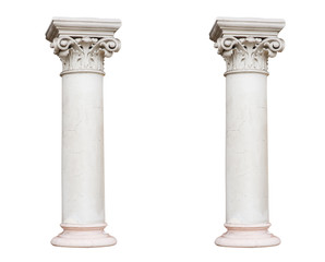 Two white columns in the classical style isolated on white backg
