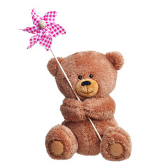 Teddy bear with toy windmill