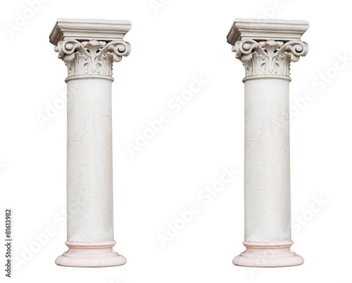 Leinwanddruck Bild Two white columns in the classical style isolated on white backg