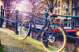 Amsterdam cityscape with old bicycle