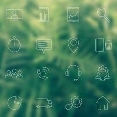 16 business, commerce, finance, line icons on blur background