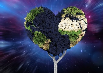 Composite image of heart shaped earth tree