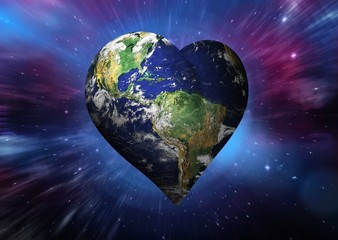 Composite image of heart shaped earth