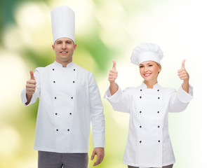 happy male chef cook showing thumbs up