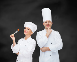 happy male chef cook thinking