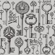 vintage keys vector logo design template. antiques or old thing - 81614508