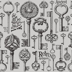 vintage keys vector logo design template. antiques or old thing