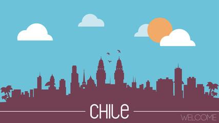 Chile skyline silhouette flat design vector
