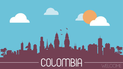 Colombia skyline silhouette flat design vector illustration