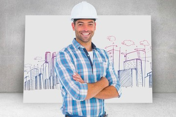 Composite image of confident manual working wearing hardhat
