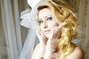 Fashion stylish beauty bride portrait with white long curly hair