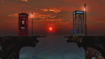 coucher de soleil sur le pont téléphonique