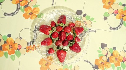 Serving Strawberry on a Crystal Plate
