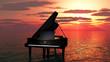 Leinwanddruck Bild - piano sur l'océan