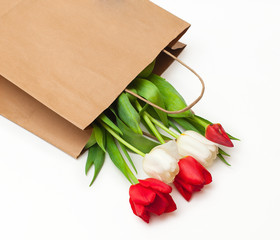 Paper shopping bag with tulips on white background