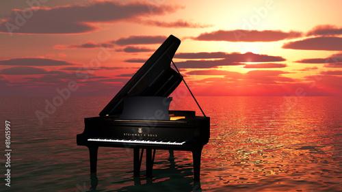 Foto op Aluminium Muziekwinkel piano sur l'océan
