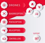 Drones, copters e-shop design elements, vector, eps10 poster