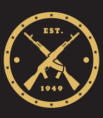 crossed assault rifles round emblem, vector, eps10
