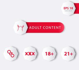 Adult content, 18+, 21+, xxx octagonal icons