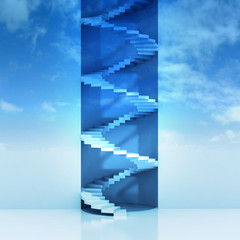 spiral staircase vertical construction in sky background