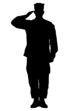 """Постер, картина, фотообои """"Silhouette of a soldier saluting isolated on white background."""""""