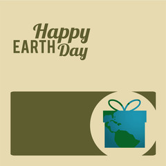 Earth Day, green and blue  gift box