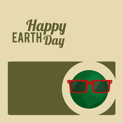 Earth Day, green and planet with sunglasses
