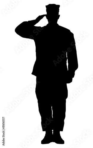Leinwandbild Motiv Silhouette of a soldier saluting isolated on white background.