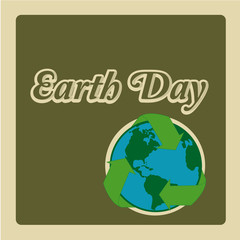 Earth Day, globe with recycling symbol