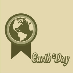 Earth Day, circle-shaped medal and text