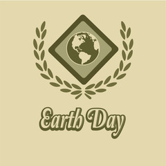 Earth Day, diamond-shaped medal and olive wreath