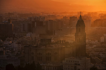 Aerial view of Malaga, Andalusia at sunset