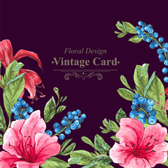 Invitation Vintage Card with Blueberries, Pink Tropical Flowers