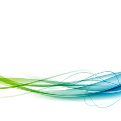 Green to blue line swoosh abstract background