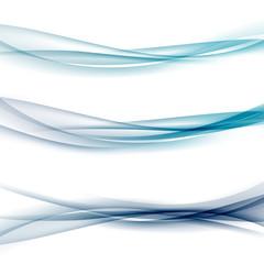 Three abstract modern swoosh border line waves