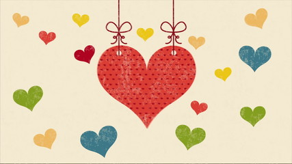 Colorful Hearts on beige background, Video animation, HD 1080