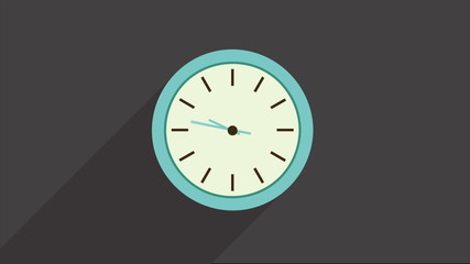 Clock on gray background, Video animation, HD 1080