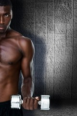 Composite image of serious fit shirtless young man lifting