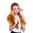 woman wearing winter fur scarf