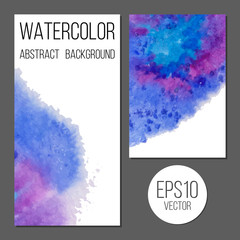Design brochure or business card with vector watercolor stains