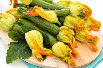 Zucchini with flowers.