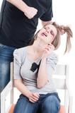 Man, husband or boyfriend beating a helpless female or wife poster