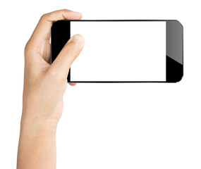 closeup hand hold smartphone isolated white clipping path inside