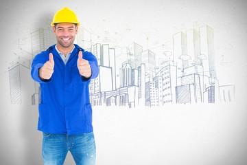 Happy manual worker gesturing thumbs up