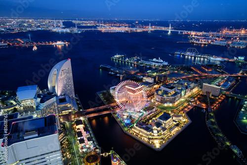 Fotobehang Japan 横浜みなとみらいの夜景