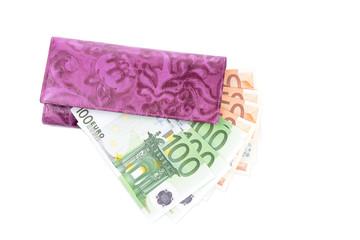 purse and euro  banknotes