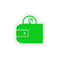 icon sticker realistic design on paper purse