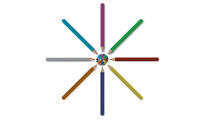 colored pencils in a circle with a squiggle of colors