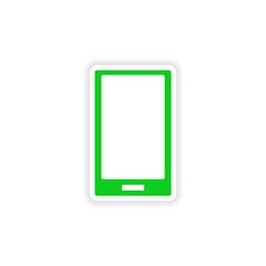 icon sticker realistic design on paper mobile phone