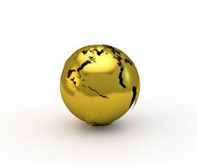 3d gold globe